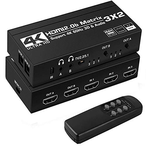 Conmutador de matriz HDMI 3x2 con extractor de audio estéreo SPDIF Toslink de 3,5 mm con soporte para control remoto por infrarrojos HDCP 2.2 18Gbps 3D 4K @ 60Hz RGB 8: 8: 8