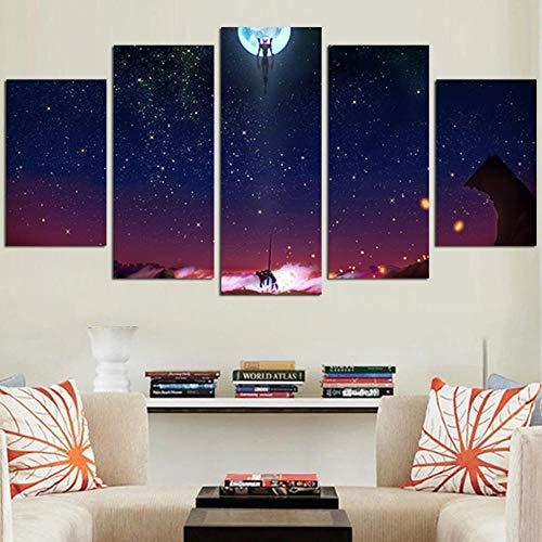 DBFHC Cuadros Modernos Impresión De Imagen Artística Digitalizada Neon Genesi Evangellio Lienzo Decorativo para Salón O Dormitorio 5 Piezas XXL