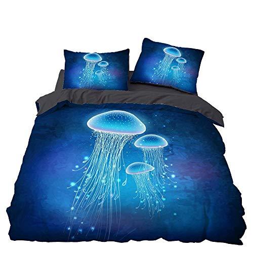 Juego De Cama 3D Medusa Azul Impresión Estilo Funda Nórdica Y Funda De Almohada Juego de Ropa de Cama, hipoalergénico, de fácil Cuidado, Suave, tamaño Doble - 200×200cm