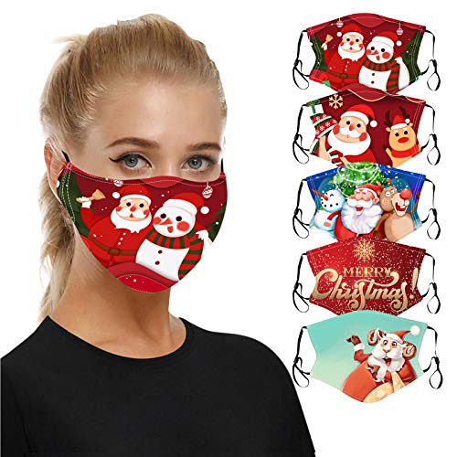 5PC Reusable Face_Masks Christmas Printed Face_Mask, Christmas Funny Facial Decorations with 5 Patterned, Unisex Adult Cotton Fabric Christmas Decoration