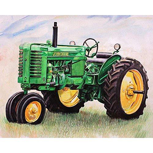 """5D DIY""""Paisaje de tractor verde""""Kit de pintura digital de pintura de diamante kit de pintura de diamante para adultos artesanía de bellas artes 40X50cm Sin marco"""