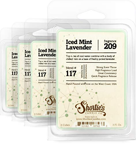 Shortie's Candle Company Iced Mint Lavender Wax Melts Bulk Pack - Formula 117-4 Highly Scented Bars - Made with Essential & Natural Oils - Fresh & Clean Air Freshener Cubes Collection