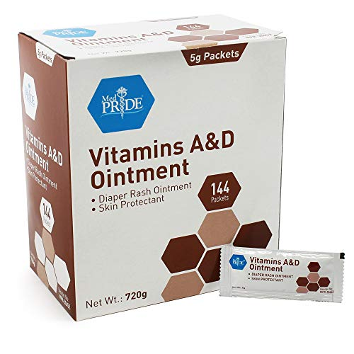 Medpride Vitamin A & D Skin Protectant Ointment| for Body Chaffing, Diaper Rash, Cuts, Dry-Cracked Hands/Feet/Face| 5g Packets, 144-Packets| Lanolin & Petrolatum Formula| for Men, Women & Baby Skin