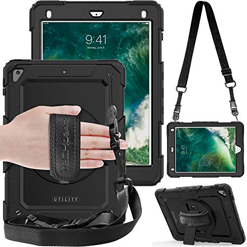 TECHGEAR UTILITY Case fits Apple iPad Air 2, iPad 9.7' (6th/5th Generation, 2018/2017) Tough Rugged HEAVY DUTY Armour Shockproof Case 360 Degree Rotating Stand, Hand Strap and Shoulder Strap - Black
