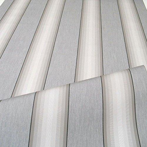TOLKO Sonnenschutz Markisen-Stoffe als Meterware für Terrassen-Überdachung und Beschattung | mit UV-Schutz 50+ | Wasserdicht, Extra Langlebig - Ohne Ausbleichen - 120cm breit (Grau Zinn Gestreift)