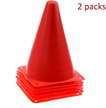 Multi-Functional Traffic Cone Multi-Function Safety Agility Cone for Football Soccer Sports Field Practice Drill Marking - Red Safety (Color : 2 Packs, Size : 18cm)