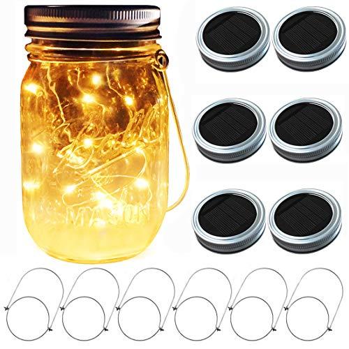 Aubasic Solar Mason Jar Lights, 6 Pack 30 LEDs Fairy Fireflies String Lid Lights, Fits Most Regular Mouth Mason Jars, Best Patio Yard Desktop Party Decor Solar Lanterns (6Pack-20Leds Lids No Jars)