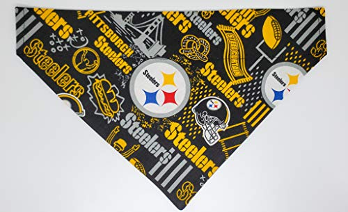 PIT Steelers Football Dog Bandana No-Tie Design