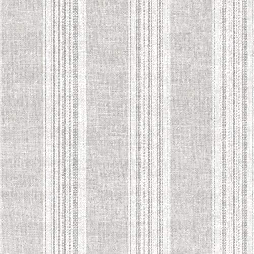 Arthouse 905000 - Carta da parati a righe grigie con cuciture effetto lino
