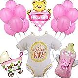 Decoración Baby Shower Niña Rosa – Globos Photocall Bautizo Nacimiento Babyshower Adorno Fiesta de Bienvenida bebé - Regalo recién nacido - Set de globos de helio para decoraciones de 16 piezas