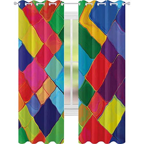 Cortinas de ventana para oscurecer la habitación, diseño abstracto de azulejos coloridos con efecto de pintura para niños, 52 x L63, cortinas opacas para dormitorio de niños, azul morado y rojo