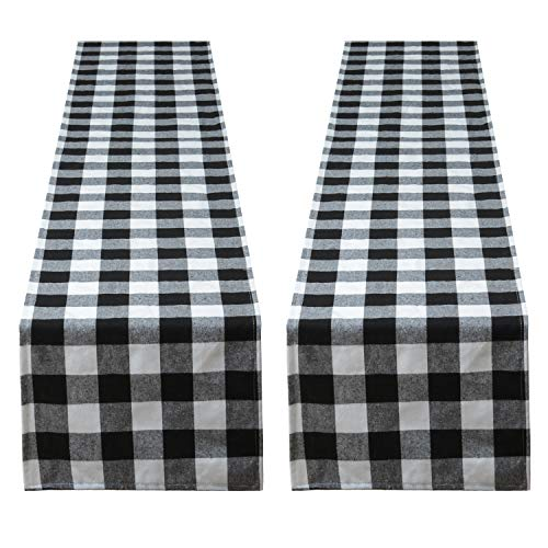 Aneco 2 Pack Checkered Table Runner Cotton Table Runner Trendy Modern Plaid Design Table Runner Elegant Decor for Indoor Outdoor Events 13 x 108 Inches Black and White