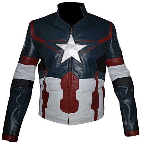 Capitán América Steve Rogers - Chaqueta de cuero real casual para motociclista