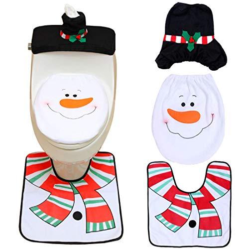 ZSWQ 3 PCS Natale Toilette Copriwater Decorazioni Babbo Coprivaso Coprivaso Set, Babbo Sedile WC Coperchio e Tappeto & Scatola del Tessuto di Copertura Insieme (Pupazzo di Neve Natale)