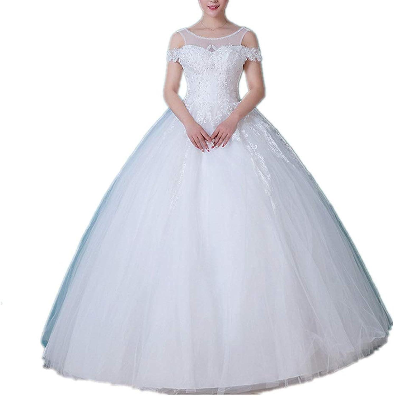 Women Evening Dress White Bride Wedding Lace Sleeve Flat Ground One Word Shoulder Princess Dress (color   White, Size   L)