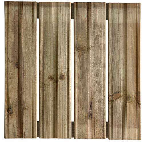 Terrassen-Fliesen Holzfliesen für den Balkon und Garten 50x50cm 1m² (4 Stück)   Holz-fliesen von Nordje® (grün - moderna Profil)