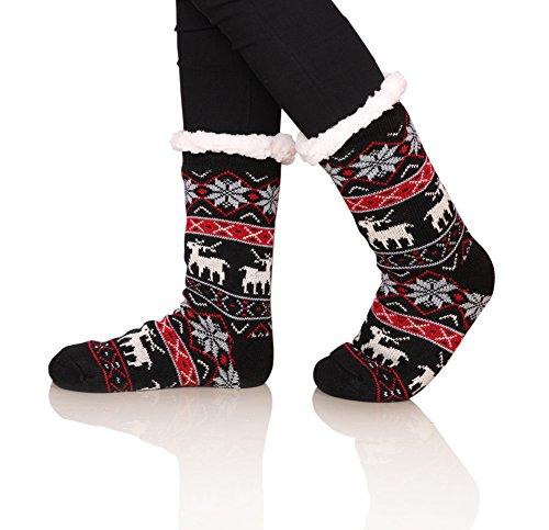 SDBING Women's Winter Super Soft Warm Cozy Fuzzy Snowflake Deer Fleece-lined With Grippers Slipper Socks (Black)