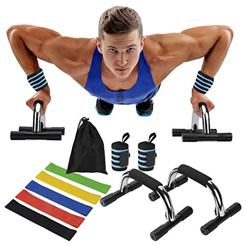 Bearfit Parallettes Bars with Wrist Wraps & Resistance Bands - Equipment Bundle for Home Fitness Workout - Strength Training & Muscle Toning Set - Extra Grip Bar Handles, Adjustable Wrap Pair