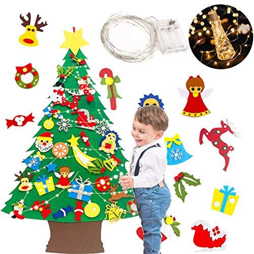 Bangcool Conjunto De árbol De Navidad Fieltro Decorativo Árbol De Navidad Fieltro Adorno Colgante para Niños