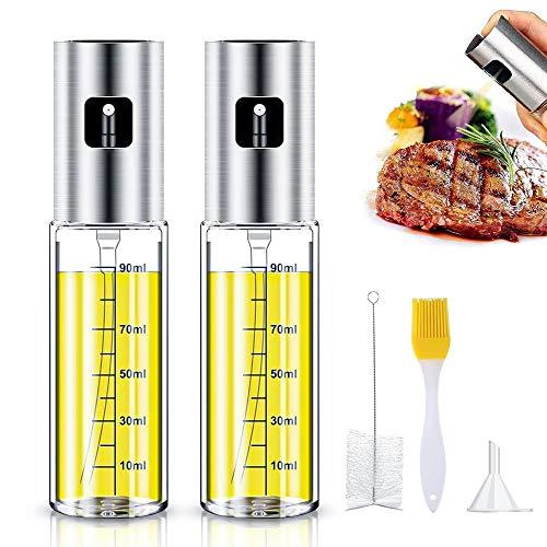 Oil Sprayer Olivenöl Sprüher zum Kochen 4 in 1 nachfüllbare Öl- & Essigspender Flasche mit Backpinsel, Flaschenbürste & Öltrichter zum Grillen,Salat Machen,Kochen,Backen,Braten,Grillen,( 2 Stck )