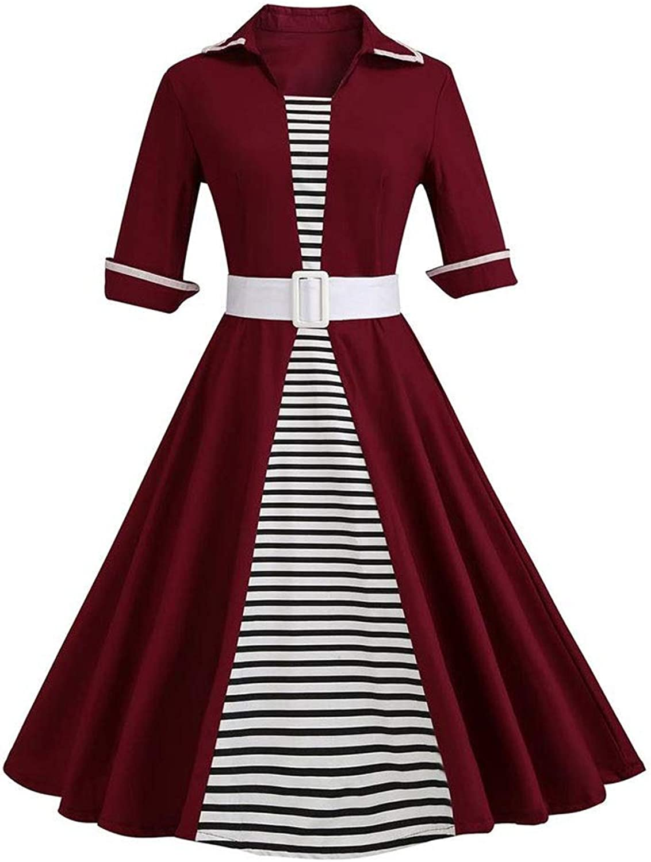 Sylviaan YY6 Women's Lapel Neck Short Sleeve Retro Stripe Swing Dress with Belt