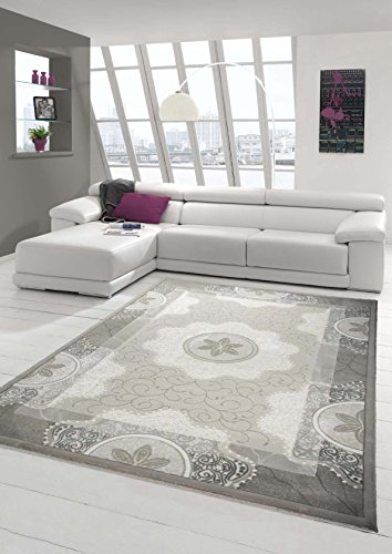 Designer Teppich Moderner Teppich Wohnzimmer Teppich mit Glitzergarn Wollteppich mit Kreise und Blumenmuster in Creme Grau Beige Größe 120x170 cm