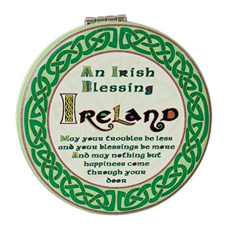 Celtic Collection Compact Mirror with Celtic Design and Irish Blessing