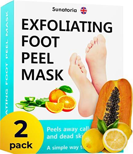Foot Peel Mask - 2 Pack (Pairs) Exfoliating Foot Mask - Makes Feet Baby Soft by Peeling away Calluses - Dead Skin Remover Foot Mask Peel by Sunatoria - Repair Rough Heels and Baby Soft Feet Gel Socks