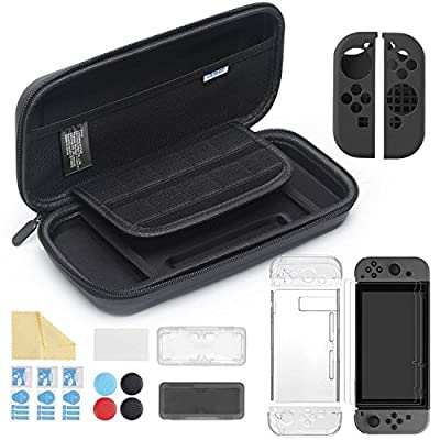 iAmer 11 in 1 Starter Kits for Nintendo Switch,Carrying Case for Nintendo Switch,Transparent Cover,3 Screen Protector for Switch,Silicon Joy-Con Cover,Thumb Grips Caps,Game Card