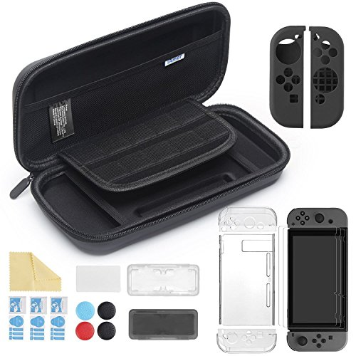 iAmer 11 in 1 Zubehör für Nintendo Switch, Tasche für Nintendo Switch and Transparent Hülle and 3 Displayschutzfolie and Silikon Joy-Con Tasche and Game Card Tasche