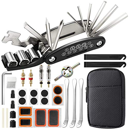EXTSUD Bike Tool Kit, Puncture Repair Kit, Bike Multi Tool, Mountain Bike Accessories, Cycling Gifts, 16 in 1 Bike Multifunction Tool with Patch Kit & Tire Levers