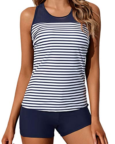 Yonique Blue Striped Tankini Swimsuits for Women with Shorts Athletic Two Piece Bathing Suits Racerback Tank Tops Swimwear XL