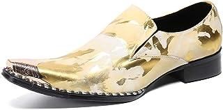 YOWAX El Cantante Punk en Punta del Vaquero Personalizado Zapatos de Cuero de Oro del Metal del Dedo del pie de los Hombre...