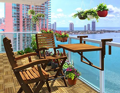 INTERBUILD REAL WOOD Toronto Balkontisch & Casino-Barstühle (1 Tisch + 2 Stühle) | Kleiner Balkon | Platzsparendes Tisch-Set | Klapptisch Set | Goldene Teakholzveredelung