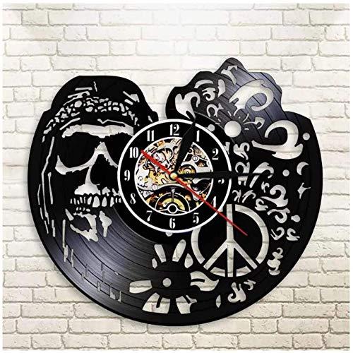 Reloj de Vinilo con diseño de Calavera Abstracta, Reloj de Pared con Registro de Vinilo en 3D, diseño Moderno, Oficina, Bar, habitación, decoración del hogar, Arte Creativo, Reloj de Pared, Regalo