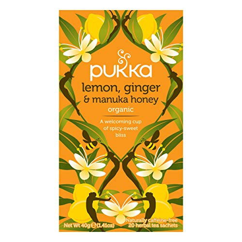 Pukka Lemon, Ginger & Manuka Honey, Organic Herbal Tea Bags (4 Pack, Total 80 Tea bags)
