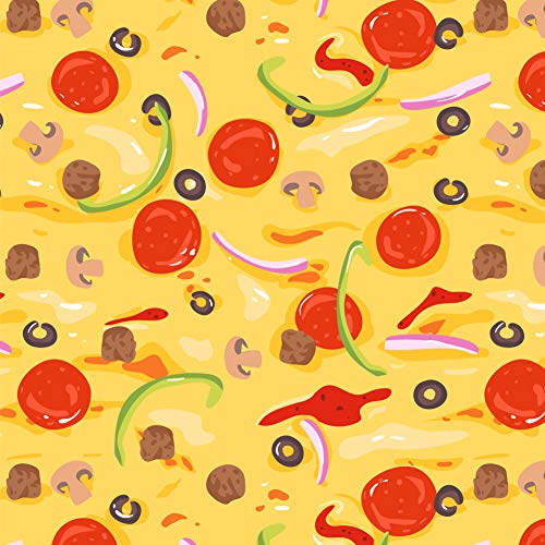 GRAPHICS & MORE Combination Pizza Pattern with Pepperoni Olives and Onions Premium Roll Gift Wrap Wrapping Paper