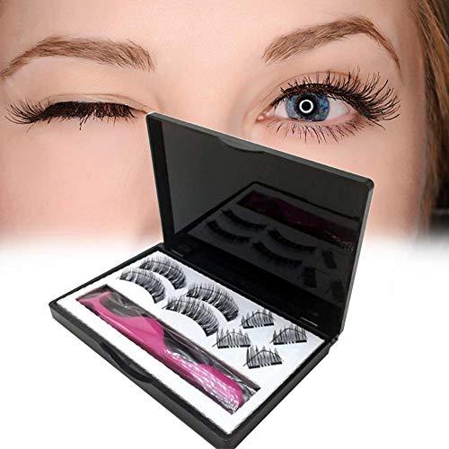YNNB Cils magnétiques, aimants Doubles Type Court Magnetic False Eyelashes No Glue Cils magnétiques Demi-Yeux 3D réutilisables Cils magnétiques Doubles Ultra-Minces