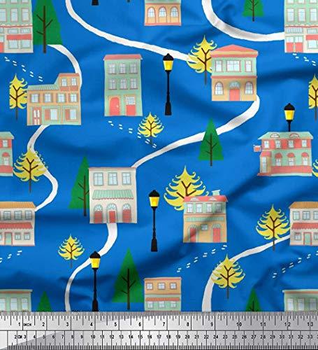 Soimoi Azul satén crepe japón Tela árbol, farola y casa arquitectonico tela...