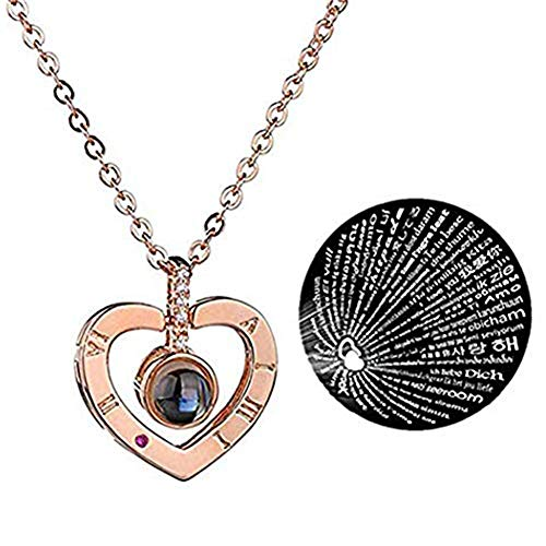 KELYNN Collar con Colgante en Forma de corazón para Mujer, 100 Idiomas, Collar con Texto en inglés I Love You