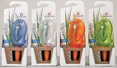 """Wasserspender \""""Bördy\"""" 4er Set , Größe 20cm, Inhalt 220ml für bis zu 4 Tage Bewässerung Ihrer Pflanzen, lila,grün,transparent und orange (1x4er Set)"""