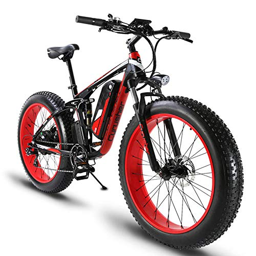 Cyrusher XF800 750W Electric Bike 264 Fat Tire Mountain Ebikes 7 Speeds Snow Beach Electric Bicycles with 13ah Battery (Red)
