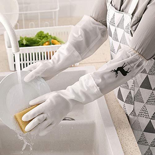 QLGRXWL Gants De Vaisselle en Silicone,Gants Réutilisables,Isolation Thermique Antidérapante Gants De Vaisselle De Cuisine Durables (Plus Velours),A,M
