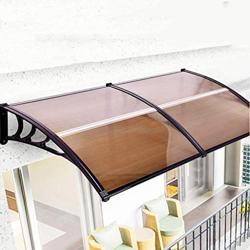 Terrasluifel met overkapping voor buiten, luifel van polycarbonaat, geschikt voor huisgevelgrootte optioneel (zwart)
