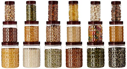 Amazon Brand - Solimo Checkered Jar Container Set of 18, 1000 ml, 500 ml, 200 ml, Transparent, Plastic