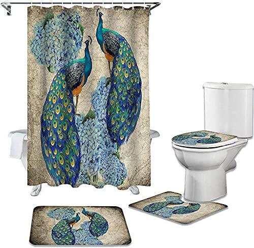 Shower Curtain 4 Piece Set Peacock Hydrangea Retro Watercolor Waterproof Bathroom Curtain Durable Shower Curtains Set Rugs Toilet Lid Cover Bath Mat 180X180Cm(71X71Inch)