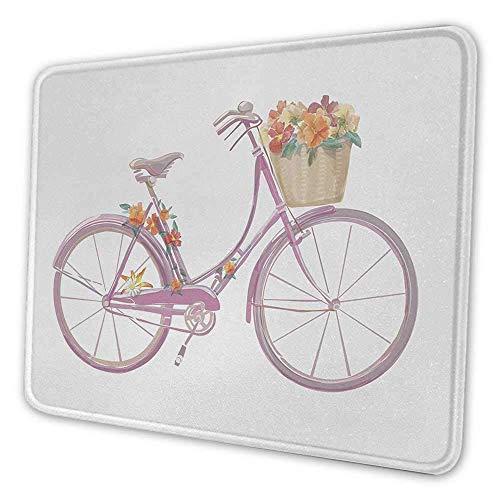 Fahrrad Tastatur Tastatur Pad Aquarell Illustration eines rosa Fahrrad mit Blumen romantische Vintage künstlerische Mauspad für Frauen Schreibtisch mehrfarbig