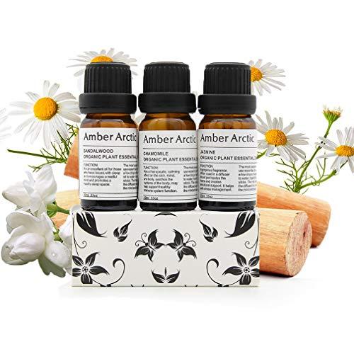 Set di oli essenziali di camomilla di sandalo di gelsomino, oli essenziali di grado terapeutico di aromaterapia naturale pura al 100% per Diffusore-3 X 10 ml