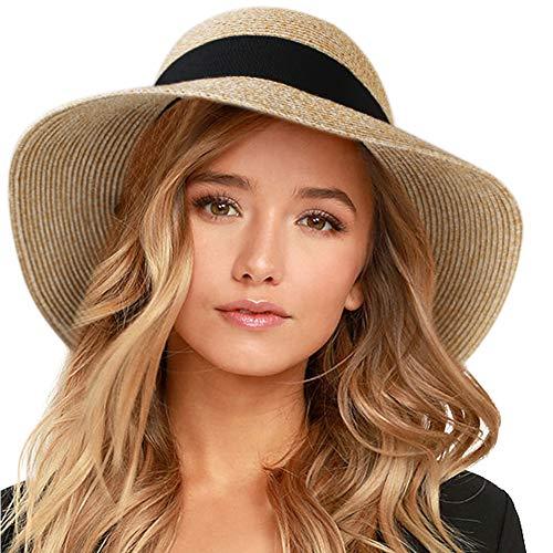 FURTALK Womens Beach Sun Straw Hat UV UPF50 Travel Foldable
