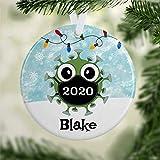 BYRON HOYLE Corona Weihnachtsdekoration sCorona Virus mit Covid-Maske, Quarantäne, personalisiertes Ornament, Quarantäne, Geschenk, Pandemie, Weihnachtsdekoration, Hochzeitsdekoration, Urlaubsgeschenk
